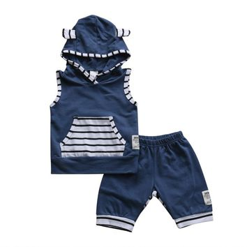 3Pcs Newborn Infant Kids Baby Boy Girl Clothes Set Cotton Striped Hoodies T-shirt Top + Short Pants Outfit Set Children Clothing