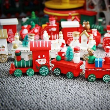 Christmas Decoration For Home Little Train Popular Wooden Train Decor Christmas Ornaments New Year Supplies  171122
