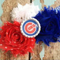 CHICAGO CUBS MLB Baseball shabby flower headband Baby Little Girl Hair Bow - Photo Prop