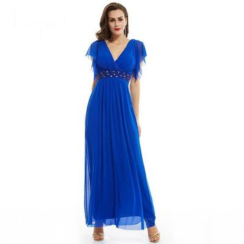 V neck long evening dress dark royal blue a line ankle length dress women cap sleeves beaded chiffon formal evening gown