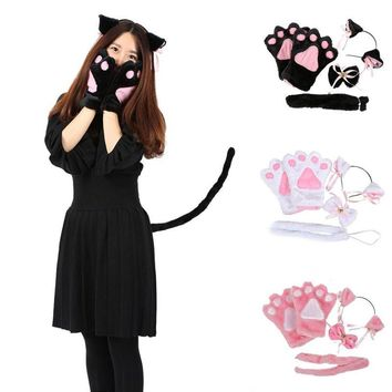 WENDYWU Ladies Winter Lovely Anime Cute Cosplay Costume Cat Ears Plush Paw Claw Gloves Tail Bow-tie Girls Women Gifts