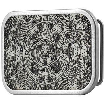 Aztec Calendar White Guilded Wood Belt Buckle