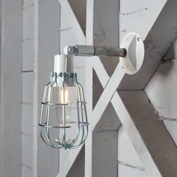 Industrial Wall Light - Outdoor Wire Cage Exterior Wall Sconce Lamp
