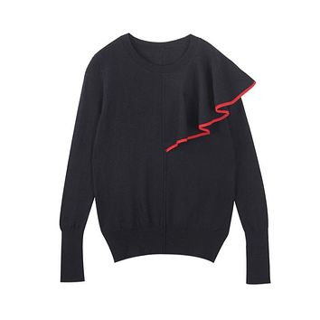 Runway Design Christmas Sweater 2017 Winter Jumpers Long Sleeve Single Shoulder Ruffles Novelty Knitted Pullover Sweater Women
