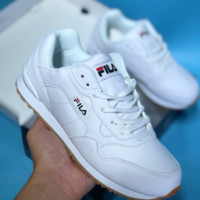 AUGUAU F006 Fila Leather Comfortable Anti-slip Anti-shock Sports Running Shoes White