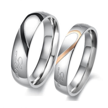 His And Hers Loving Heart  Engraved  Wedding Anniversary Titanium Steel Gold & Black Ring Bands (Couple Set Including Two Rings) 284 = 1930164292