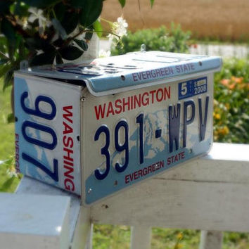 Upcycled Washington License Plate Wall Mount Mailbox