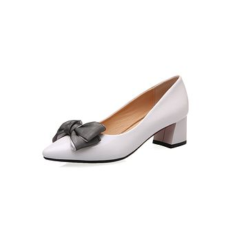 Pointed Toe Shallow Mouth Butterfly Knot Women Shoes Chunky Pumps