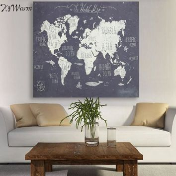 Vintage World Map Polyester Fabric Wall Tapestry