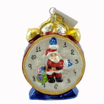 Christopher Radko HOLIDAY WIND-UP Glass Ornament Clock Santa Time