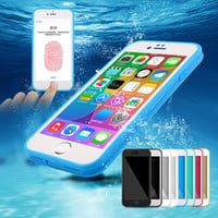 """Swimming movement waterproof phone protection shell appropriate iPhone7 7 + iPhone6 6 s + + 5 cases of iphone 5 s """"Th3"""" SE """". N shockproof mixed silicone rubber soft TPU back cover"""