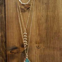 Teal The Sun Comes Up Necklace: Teal