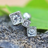 316L Stainless Steel Art of Brilliance Triple Square Drop Cartilage Earring