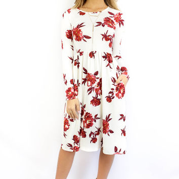 Berkshires Floral Ivory Fit and Flare Long Sleeve Pocket Dress