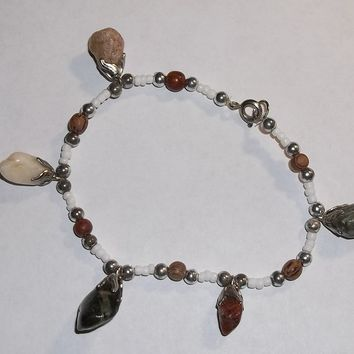 """Vintage Bohemian Style Beaded Hand Crafted Bracelet with Natural Gemstone Charms 7 1/2"""""""