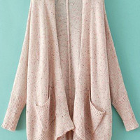 Pink Long Sleeve Pockets Knit Cardigan