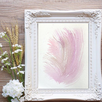 Abstract  watercolor painting, Flower Print, Pink nursery art, Original  contemporary art, pink modern art, nursery painting,