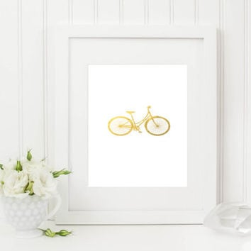 Bicycle Silhouette Faux Gold Foil Art Print - Faux Gold Foil - Office Decor - Home Office Wall Art - Nursery Wall Decor - INSTANT DOWNLOAD