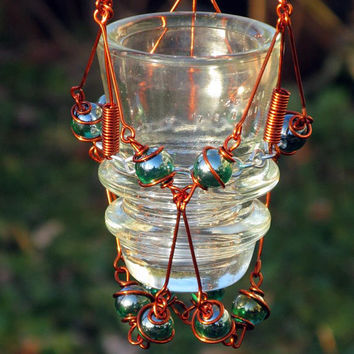 Hanging Candleholder with Copper Wrapped Upcycled Vintage Glass Insulator & Iridescent Emerald Green Glass Marble Prisms, Home Decor