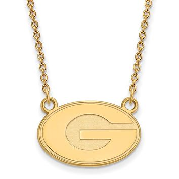 NCAA 10k Yellow Gold U of Georgia Small 'G' Disc Pendant Necklace