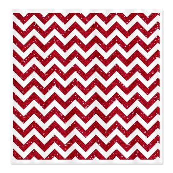 Red Glitter Chevron Shower Curtain