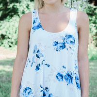 Bed of Roses Floral Tank - Royal Blue