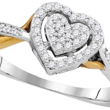 10kt Two-tone Gold Womens Round Diamond Heart Love Ring 1/5 Cttw