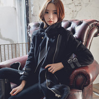 Fashion leather cashmere coat  6260817