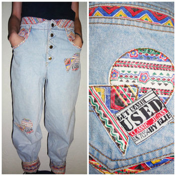 90's High waisted Get Used by Elie Classic Jeans Baggy Jeans Aztec - size 30 -