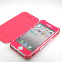 GNJ Premium Pink Suede Leather Hard case cover+Same color screen for iPhone 5 5G