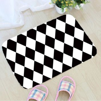 Autumn Fall welcome door mat doormat Black and White Geometric Printing  Flannel Fabric Floor Mat Home Decoration Non-slip  vloermat mata do drzwi AT_76_7
