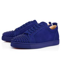Louis Junior Spikes Men's Flat Atlantic/Atlantic Mat Suede - Men Shoes - Christian Louboutin