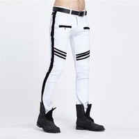 Men's White/Black patchwork Ripped jeans
