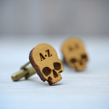 CUSTOM SKULL Cufflinks - Monogram Initials wood cuff links