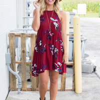 Camilla Floral Dress - Crimson