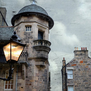 Edinburgh Photography Scotland Art, Lamp Post, Large Wall Art, Urban Print, Light Art, Architectural Photography, Light Blue, Beige, Brown