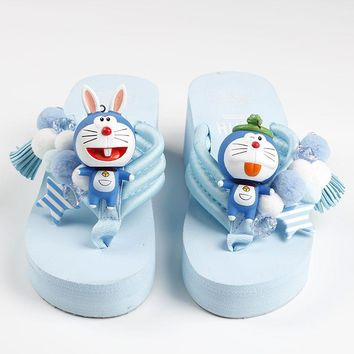 Handmade Flower Pearl Slope Platform Summer Shoes Women slipper