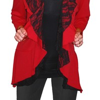 Funfash Plus Size Cardigan Red Black Lace New Womens Plus Size Sweater Top Shirt