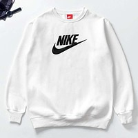 NIKE Tide brand classic big print men and women long sleeve round neck pullover sweater White