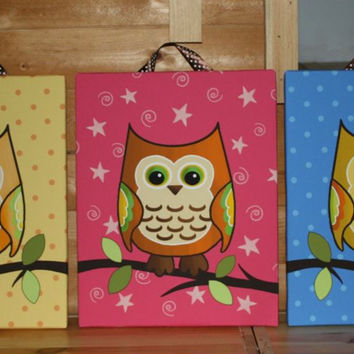 Set of 3 Mod Owls Girls Bedroom Baby Nursery Art on Stretched CANVAS 3CS014