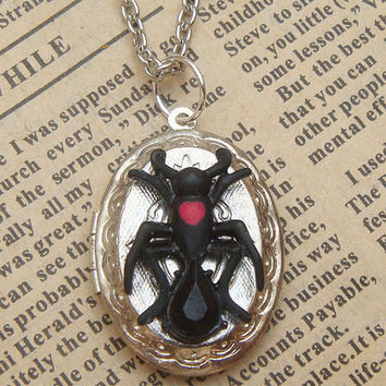 Steampunk Ant Locket Necklace Vintage Style by sallydesign on Etsy