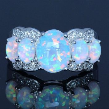 STYLEDOME White Fire Opal Rings For Women Silver Filled Gift Ring Size