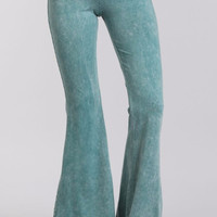 Chatoyant Mineral Wash Bell Bottom Soft Pants - Teal Emerald