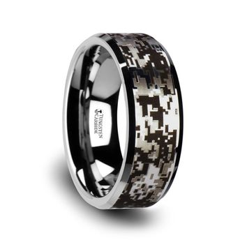 Silver Modern Digital Camo Black Tungsten Ring