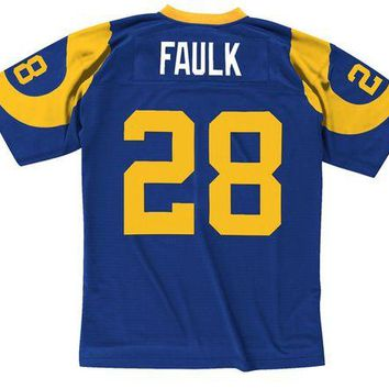 LMF8UH Mitchell & Ness Marshall Faulk 1999 Replica Jersey St. Louis Rams In Blue