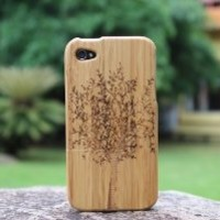 eimolife Natural Handmade hard wood Bamboo Case Cover for iphone 4 and 4S, tree