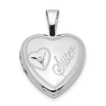 Sterling Silver & Diamond Sister Heart 12mm Heart Locket