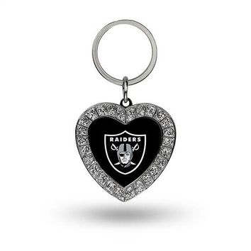 NFL Oakland Raiders Bling Rhinestone Heart Metal Keychain Keyring Womens Ladies