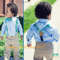 Baby Bow Tie and Suspender Set - Blue and Green Plaid Photography Prop Suspender set for toddlers and little boys.