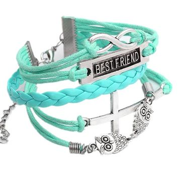 JOVIVI® Charm Owl Cross Best Friend Infinity Leather Multilayer Bracelet-- Light Blue